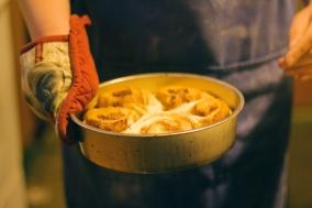 Baking cinnamon rolls for a feast day