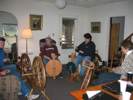 Spinners gathered at the guest house